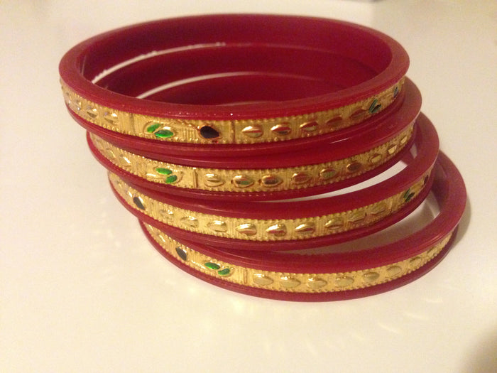Pair of Golden Over Red Plastic Bangle