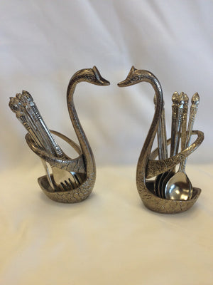 Oxidized - Handcrafted Swan Shaped Small Stand With Spoon & Fork Set - 1