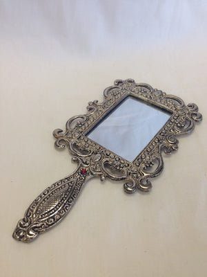 Rectangular Oxidized Metal Hand Mirror