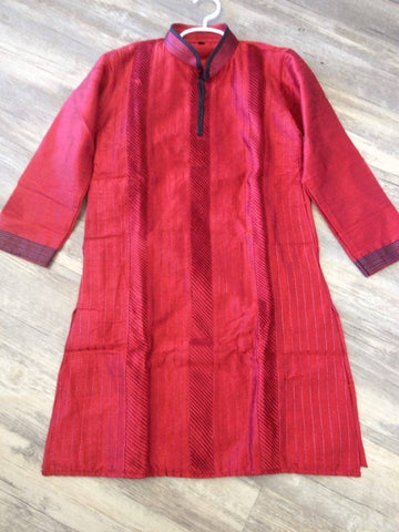 Boys Embroidered Kurta Pajama Set-Maroon
