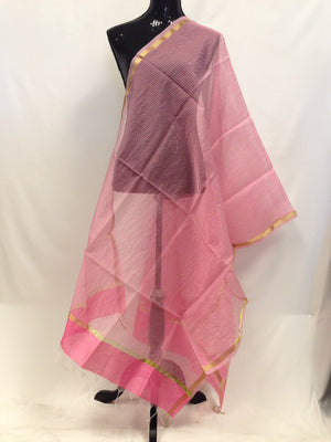 Chanderi Woven Silk Dupatta - Light Pink - 2