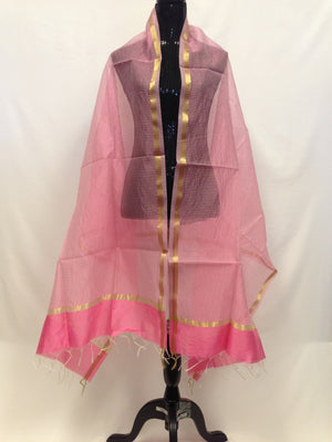 Chanderi Woven Silk Dupatta - Light Pink - 3