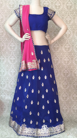 Bridal Silk Lehengha- Blue Pink - 4