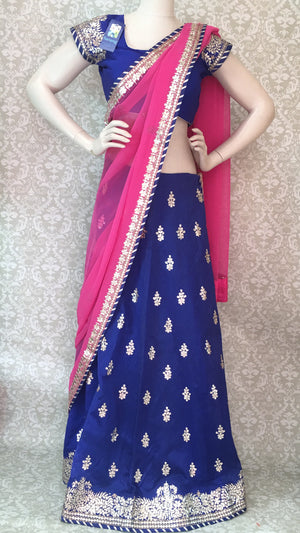 Bridal Silk Lehengha- Blue Pink - 2
