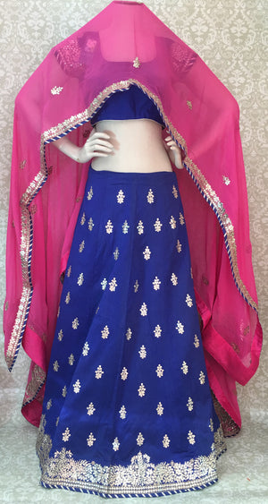 Bridal Silk Lehengha- Blue Pink - 1