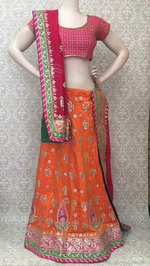 Silk Bridal Lehengha-Orange - 6