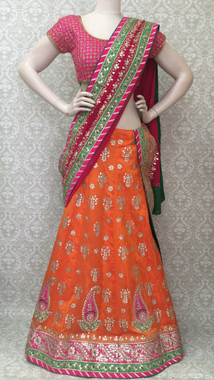 Silk Bridal Lehengha-Orange - 2