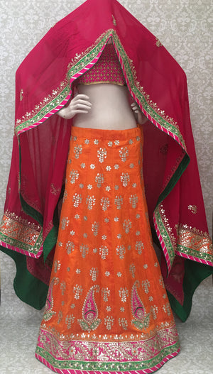 Silk Bridal Lehengha-Orange - 1