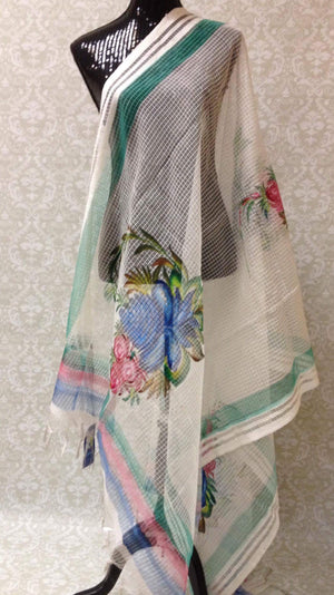 Handpainted Cotton Dupatta With Beautiful Floral Painting- Off White - 1