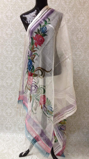 Handpainted Cotton Dupatta With Beautiful Floral Painting- Off White - 2