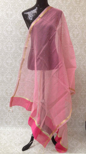 Chanderi Woven Silk Dupatta - Light Pink - 1