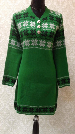 Winter Special Woolen Kurti Green White