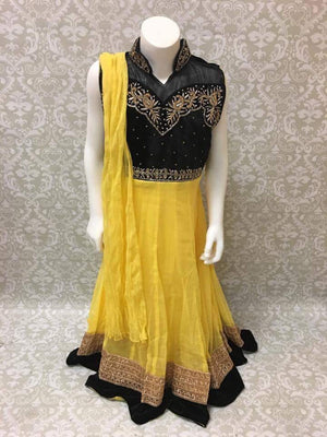 Net & Velvet Fancy Anarkali - Yellow and Black - Sarang