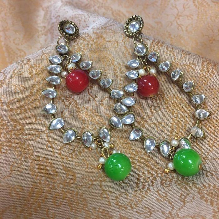 Red & Green Stones Studded Earrings