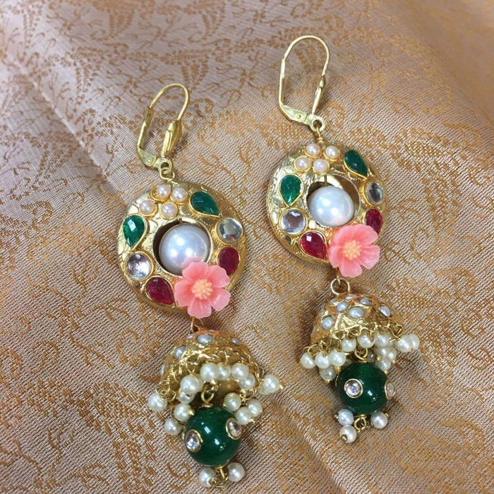 floral Pink pearl Jhumki Earrings