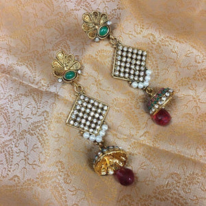 Stone Work Jhumki Long Earrings - Multi Color - Sarang