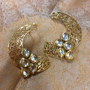 Golden and white American stone studded ear cuffs - Sarang