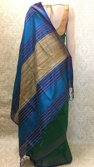 Handloom Silk Saree Green - Sarang