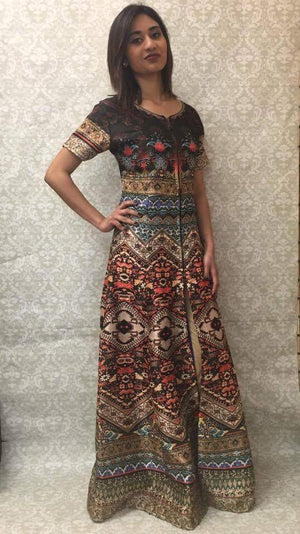 Long Digital Print Dress in Silk with Jacquard Leggings - Sarang