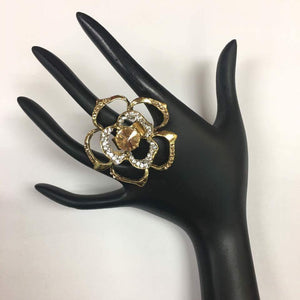 Gold Toned Rose Diamond Ring - Sarang
