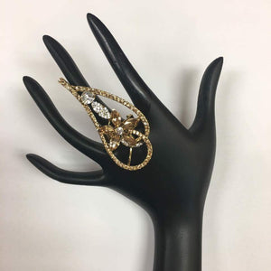 Gold Toned Diamond Ring - Sarang
