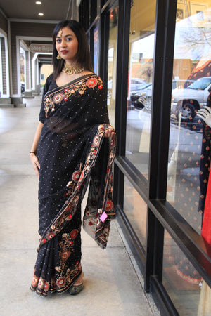 Hand Embroidered Chiffon Saree