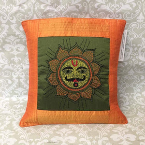 Single Silk Embroidered Pillow Cover - Sarang