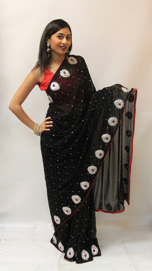 Georgette Party Wear Saree- Black