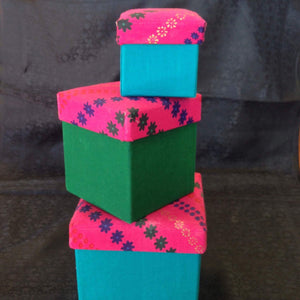 Handmade gift boxes, made in multi colored cloth (set of 3) - Sarang