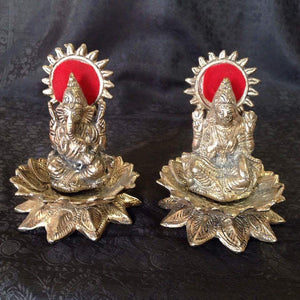 Oxidized - Laxmi Ganesh Sitting On Lotus - Sarang