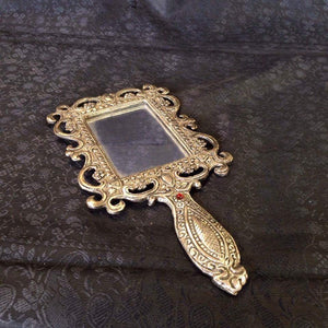 Rectangular Oxidized Metal Hand Mirror - Sarang