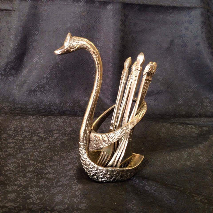 Oxidized - Handcrafted Swan Shaped Small Stand With Spoon & Fork Set