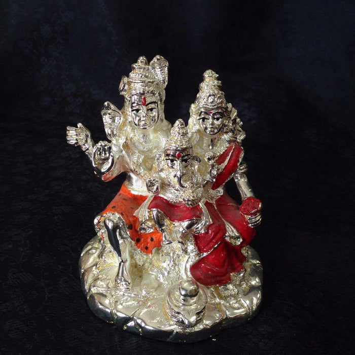Statue -  Silver Shiva & Parvati With Ganesha