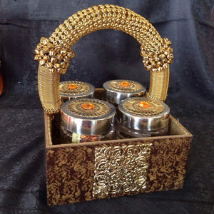 Decorative Tray With Four Jars - Sarang