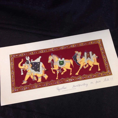 Rajasthani Handpainting on Pure Silk - Sarang