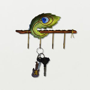 4 Hook peacock feather Key Holder - Sarang