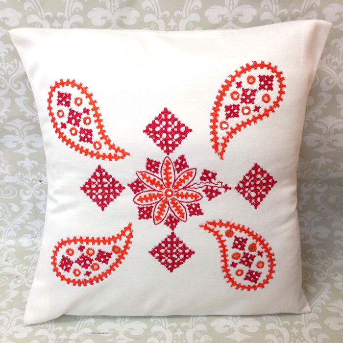 Phulkari Embroidered Cushion Cover