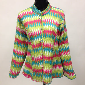 Reversible Quielted Cotton Jacket - Multi Color - Sarang