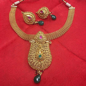 Traditional Design Gold Toned Necklace - Sarang