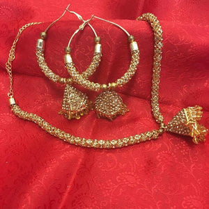 Gold Toned Stone Necklace - Sarang