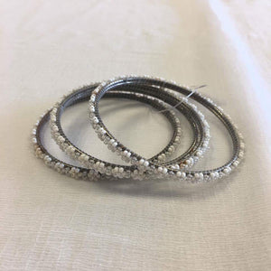 BEADED BANGLE SET WHITE - Sarang