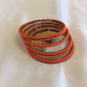 BEADED BANGLES PLAIN ORANGE - Sarang