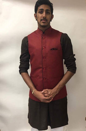 Men's Silk Vest - Red black - Sarang