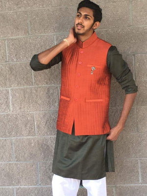 Men's Indian Nehru, Modi style waistcoat-Orange - Sarang