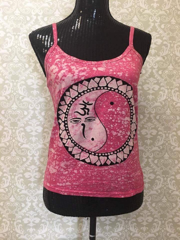 Women's Spaghetti Tank Top/Yoga Clothing-Pink Sun Moon Print