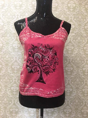 Women's Spaghetti Tank Top/Yoga Clothing-Pink Tree Print - Sarang