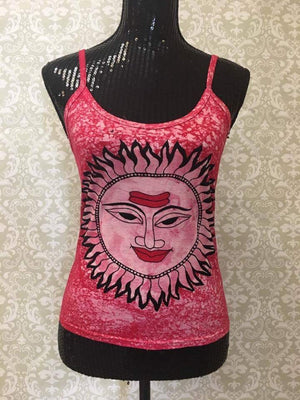 Women's Spaghetti Tank Top/Yoga Clothing-Red Sun Print - Sarang