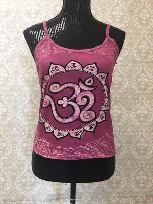 Women's Spaghetti Tank Top/Yoga Clothing-Purple Oum Print - Sarang