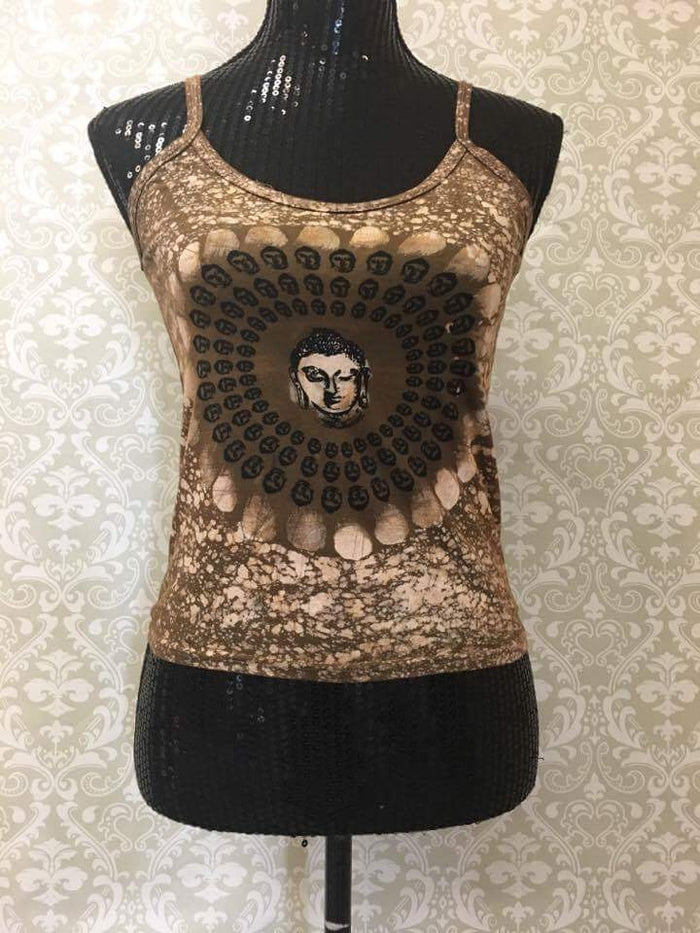 Women's Spaghetti Tank Top/Yoga Clothing-Green Buddha Print