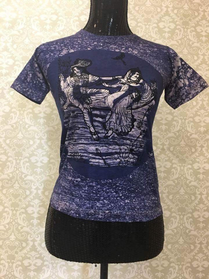 Women's T Shirt/Yoga Clothing-Indigo Radha Krishna Print